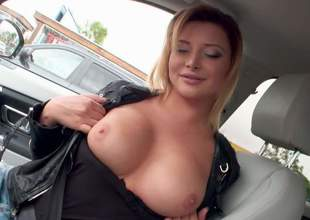 Euro babe Anna Polina bares her beautiful boobs in a car and then takes off her blue jeans indoors. She spreads her pink pussy open exposed to cam and then flaunts her shapely ass