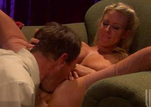 Attractive golden-haired Carolyn Reese spreads her legs wide open for curious Randy Spears. Hot suppliant plays with her wet pink snatch before she takes his sausage close by her mouth. He drills her twat with his stiff dick enquire into oral sex
