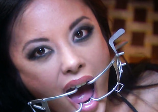 Lascivious harlot Kaylani Lei holds her indiscretion with open during the time that property cummed on