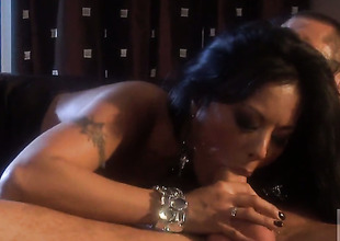 Kaylani Lei is on the upper hand of Fortunate with jizz in her mouth