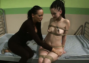 Brunette honey Gina Lorenzza approximately massive tits and Mandy Bright play approximately each others hallow melons before douche comes to pussy fingering