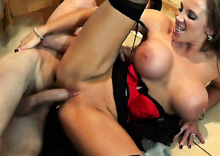 Danny D plays hide the salamy with Rebecca Moore with juicy breasts in anal stance