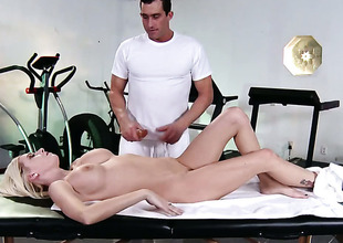 Riley Evans with big jugs gets her hot goods trained by hard cherish wand of Billy Glide
