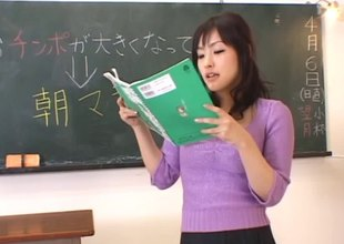 When class is over this Oriental teacher gets fingered by a student