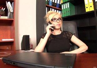 Dona gets a job as a secretary where she regularly fucks their way boss