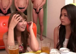 Horny Japanese ladies combo unite up men and use them for sexual pleasure