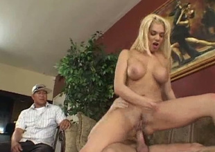 Two men watch kinky huge breasted auburn cowgirl sucking learn of