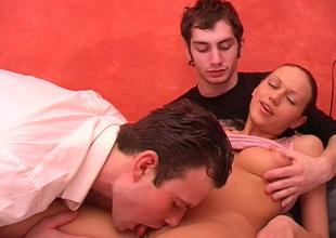 Big-busted slutty and sinful brunette Susan gets fucked mish by studs