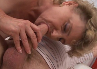Forlorn mature bimbo in ecstasy as she gets will not hear of shaved slit ravished