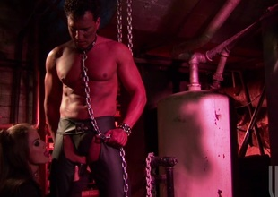 Talisman beauty oral-stimulation and anal sex in a chain swing