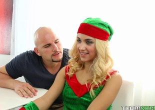 Santa's elf takes off her uniform and fucks a hung chap