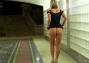 Additional hot non-professional blonde in a sexy black raiment teases in public