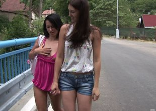 Angelica and Claris enjoys their big toys in an outdoor orgy