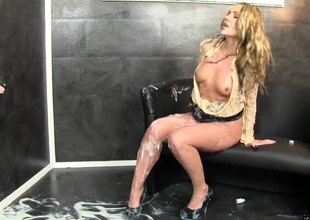 Glamourous golden-haired ends up covered everywhere slippery high-quality at a gloryhole