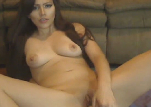 Busty Babe Toying her Constricted Pussy