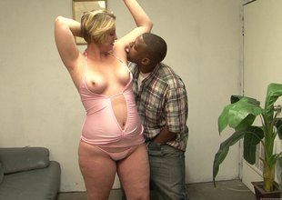 BBW blond mama is addicted forth black dudes and their big cocks