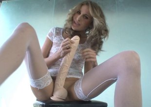 Kara Price sits her slit on a humongous dildo farm the edge is only visible