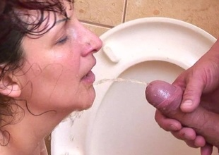 Perverted mature sex on a introduce toilet