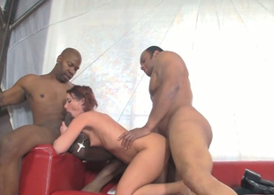 Charming redhead hoe Tweety Valentine fucks team a few horny men