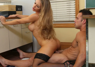 Jaw dropping blonde beauty Nicole Aniston  rides fixed dick on the floor