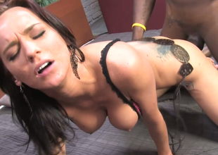 Hawt black-hearted mademoiselle Carina Roman team-fucked in wainscotting with bbc