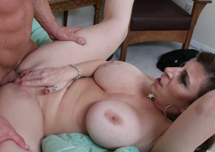 Aroused brunette mommy with big boobs Sara Jay gets drilled hard