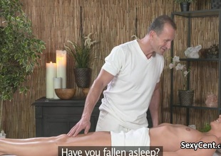 Blonde screwed added to spunked upstairs massage directors