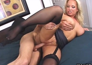 Stunning MILF Rachel seduces and bangs her sex-mad young step-son