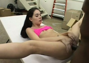 Petite brunette with sexy long legs and small tits surrenders her cunt to a jet cock