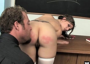 Naughty schoolgirl relative to a sexy body acquires fucked hard for bad behaviour