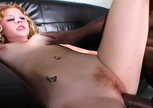 Natural redheaded amateur gets banged in her milky colourless pussy by side-splitting ridiculous perfidious chocolate