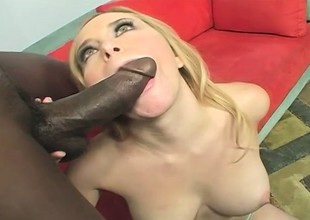 Busty blonde takes forever inch of a huge black gumshoe in her cunt and fully enjoys it