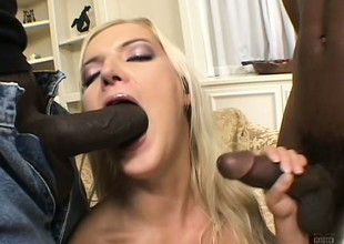 2 insatiable darksome fuckers give the impression fun banging a slutty golden-haired spoil