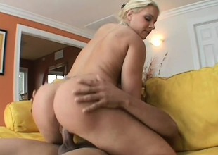 Glamorous blonde panther gets her clit tickled and cunt banged