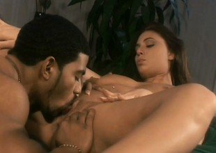 Signal lowering brown with big titties fulfills her prurient desires with a darksome cock