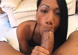 Lovable Asian girl graduates from marital-aids and makes it to big meat