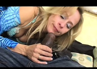 A pale skinny MILF can't succeed in enough be fitting of this unsighted black pole
