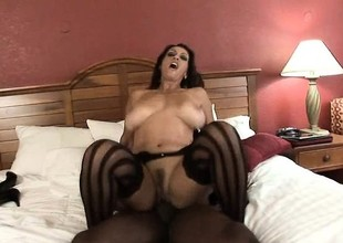 Marvelous brunette in undergarments acquires her curvy body screwed by a BBC