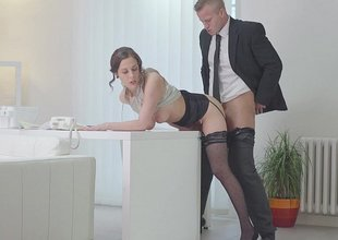 Secretary closeness over the desk and fucked