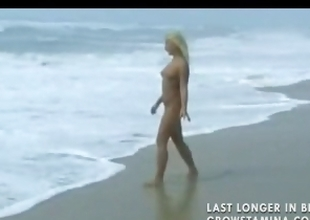 Literal blonde sweetheart walks on the beach and erratically gets hammered
