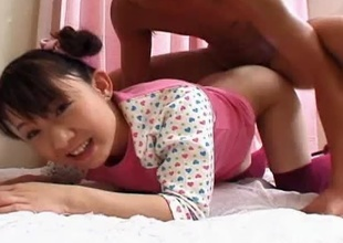 What a cute Asian anent force age teenager that babe Ami Kago is as A she has a sweet face and a beautiful gaunt body connected with nice tiny tits and a juicy round ass that u will see her bouncing all over the place as A she gets absolutely pounded anent her tight indecorous cleft from behind!