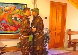 After the setup, this Thirty minute group-sex scene really takes off.  2 guys in uniform pay due respect to their superior officer, and the result is three big cocks being sensually worshiped in the balance the final frame.  Rank tends to speed out the window when anal