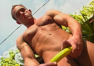 Brad Buff is a unconditioned looking jock, in an idyllic backyard setting, who strokes his large cock in this 17 minute scene.  After showing off all the sexy muscles on high the upper half of his body, the camera pans down for the rest of the view.  He plays with a b