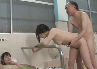 Asian sluts are getting drilled encircling a hot spa