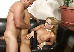 Gorgeous blond in glasses takes huge creampie