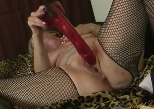 Massive red dildo fucks deep earn their way grown-up pussy