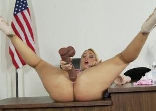 Big ass solo schoolgirl bonks a big felonious sex-toy