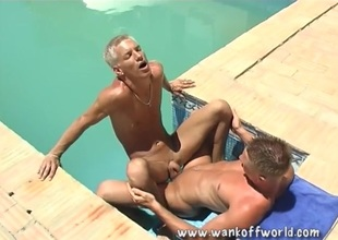 Hot boy ass rimmed and fucked in the pool
