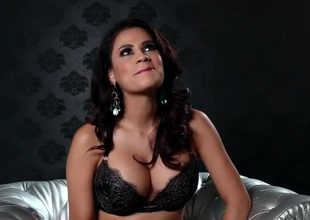 Busty glamour female-dominant talks in her sexy brassiere