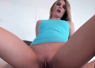 Shaved chick Jonni Hennessy with hot pest rides weenie POV